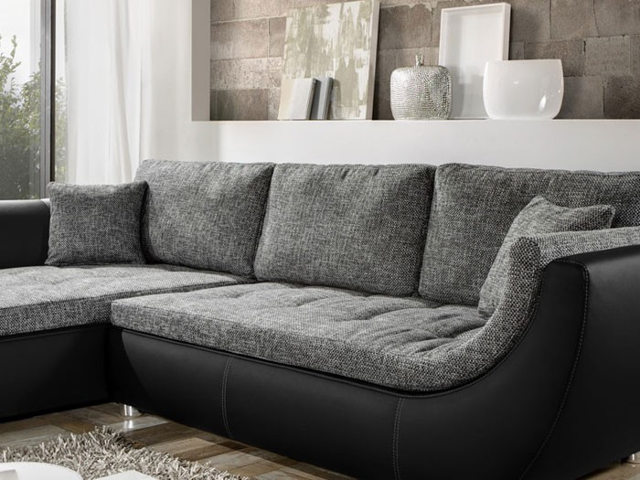 Couch Avery 287x196cm Webstoff Anthrazit Kunstleder Schwarz Sofa Bild 3